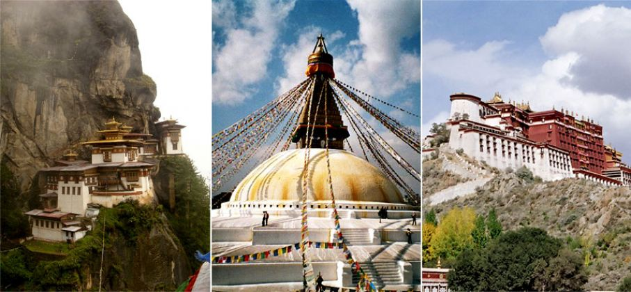 Tiger's Nest, Boudhanath and Potala Palace